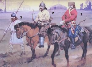 Аварские воины (1-знатный аварский воин, 2-простой аварский воин, 3-славянский пехотинец)