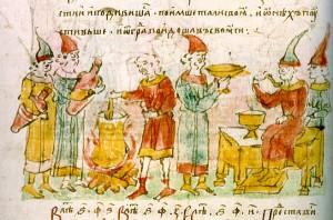 Варка киселя в Белгороде для печенежских послов. Миниатюра из «Лицевого летописного свода» XVI века.