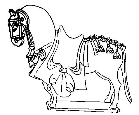 Оседланный конь. Погребальная статуэтка. Северный Китай. 576 г.
