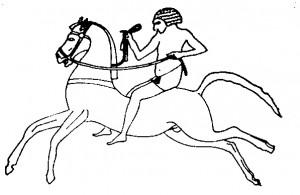 Древнеегипетское изображение всадника. XIV в. до н.э.