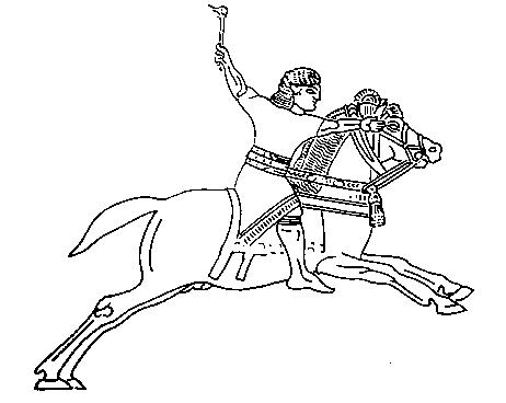 Ассирийское изображение воина в седле. VII в. до н. э.