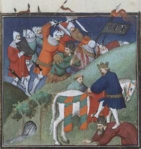 Битва при Манцикерта 1071 г. Автор Бокаччо, XV век, Париж.