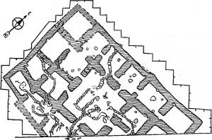 План раскопанной части дворца близ Абакана (по Л.А. Евтюховой)