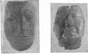 Погребальные маски таштыкской эпохи (Минусинская котловина, ГИМ, колл. № 72 956).  а — маска, изображающая лицо человека европеоидного облика;  б — маска, изображающая человека с монголоидными чертами.