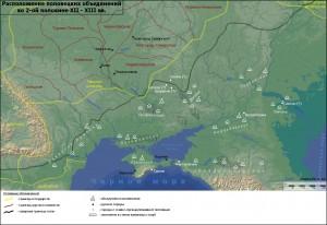 Карта расположения половецких орд в конце XII - начале XIII вв., по Плетневой С.А.