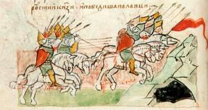 Победа половцев над русскими полками в 1068 году. Миниатюра из Радзивиловской летописи XV в.