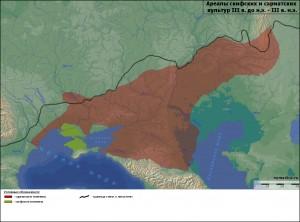 Карта расселения скифов и сарматов в III в. до н.э. -III в. н.э. по данным археологии.