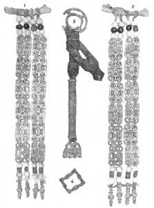 подвески, медная игольница, бронзовая пряжка