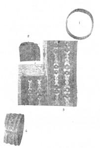 прямоугольная, сшитая из бересты пластина, вышитая по бокам берестой со сквозным узором