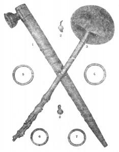 металлические пуговицы, деревянная ложка